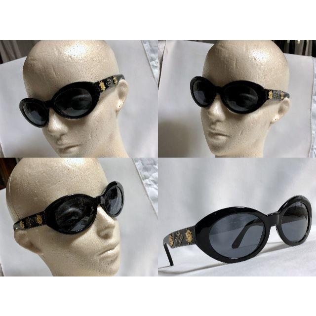 Gianni Versace(ジャンニヴェルサーチ)の正規良 ヴェルサーチ 2連メデューサロゴ×スタッズ装飾 サングラス 黒×ゴールド メンズのファッション小物(サングラス/メガネ)の商品写真