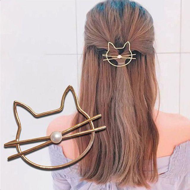 猫ヘアピン♪ ゴールド・シルバー♪ お得な2本セット♪♪ 新品未使用品 送料無料 レディースのヘアアクセサリー(ヘアピン)の商品写真