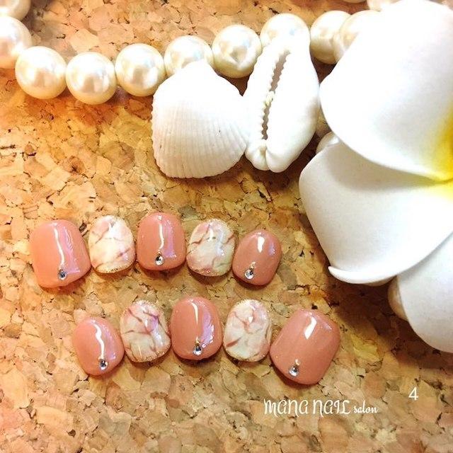 (4)クラシカル大理石ネイル⭐︎即発送可能⭐︎ コスメ/美容のネイル(つけ爪/ネイルチップ)の商品写真