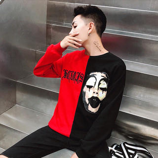アンドバイピーアンドディー(&byP&D)の即発送 長袖Tシャツ 赤 サイズM~XL選べます♪(Tシャツ/カットソー(七分/長袖))