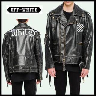 オフホワイト(OFF-WHITE)のOFF-WHITE  オーバーサイズライダースジャケット(ライダースジャケット)