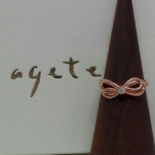アガット(agete)の☆超美品☆アガット リボン×ダイヤ K10PGリング  新品磨き済み(リング(指輪))