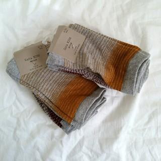 ザラ(ZARA)のZARA キッズ ボーイズ 靴下 ソックス 3枚組 ボーダー 通学 (靴下/タイツ)