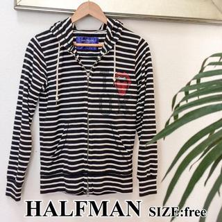 ハーフマン(HALFMAN)のボーダーパーカー 美品 halfman フーディースパンコール(パーカー)