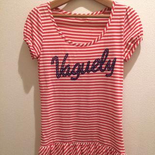 プーラフリーム(pour la frime)のボーダーシャツ 赤 メッセージ フリル プーラフリーム (Tシャツ(半袖/袖なし))