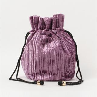 ヘザー(heather)のプリーツベロア巾着 パープル(ハンドバッグ)