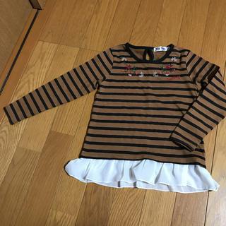 シマムラ(しまむら)の110ボーダー裾フリル長袖ロンTシャツ(Tシャツ/カットソー)