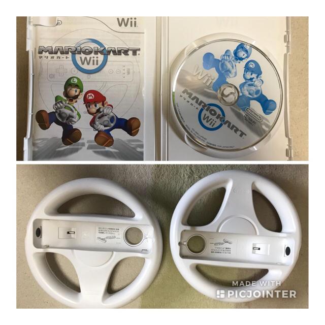 Wii(ウィー)のwii マリオカート ソフト ハンドル2つセット エンタメ/ホビーのテレビゲーム(家庭用ゲームソフト)の商品写真
