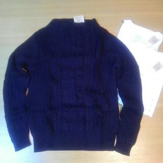 ムジルシリョウヒン(MUJI (無印良品))の無印良品 オーガニックコットン ケーブル柄セーター&Vネックシャツ2枚付き(ニット/セーター)