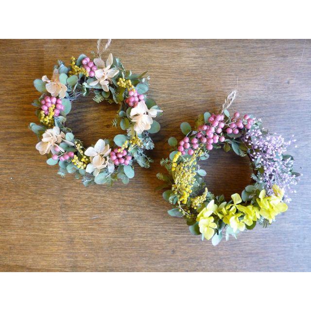 hana11さま専用 【春待ちミモザ】ミモザのミニリース ハンドメイドのフラワー/ガーデン(リース)の商品写真