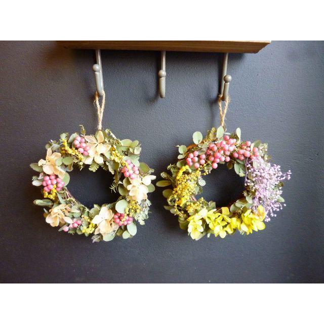 【春待ちミモザ】ミモザのミニリース ハンドメイドのフラワー/ガーデン(リース)の商品写真