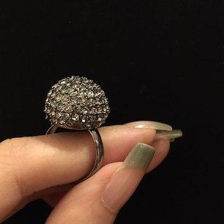 新品 カーキ スモークグレー クリスタル リング ノーブランド 指輪(リング(指輪))