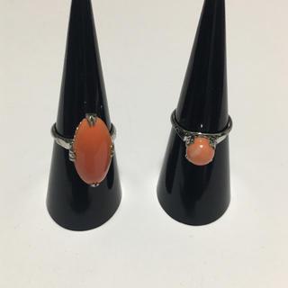 珊瑚 サンゴリング指輪 ヴィンテージ品 昭和レトロ シルバーsilver2点.(リング(指輪))