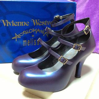ヴィヴィアンウエストウッド(Vivienne Westwood)のメリッサコラボパンプス紫(色落ちあり)(ハイヒール/パンプス)