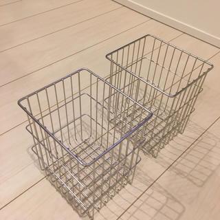 ムジルシリョウヒン(MUJI (無印良品))の無印良品 ステンレス バスケット 2個セット 新品同様(収納/キッチン雑貨)