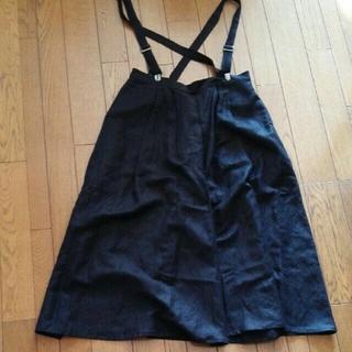サスペンダー 付き ガウチョ パンツ ワイドパンツ 黒 ブラック M