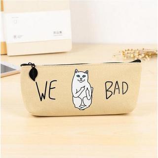 ねこ 猫ペンケース 猫筆箱 WE BAD!ベージュ♪ 新品未使用品 送料無料(猫)