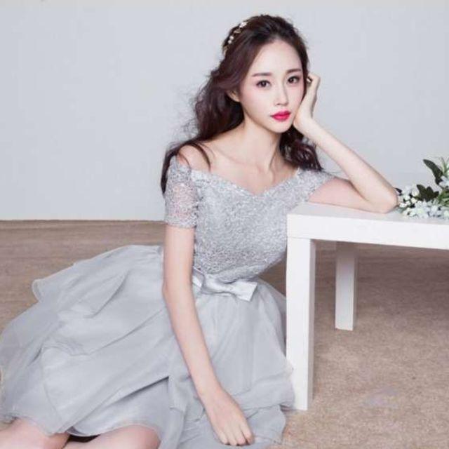dffd939fe4f70 S ミニドレス ウエディング 結婚式 ドレス シルバー 袖あり パーティードレス レディースのフォーマル