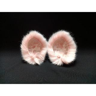【 ピンクネコミミ 】ヘアピンねこみみ◆桃色ぶたさん風◆頭の髪に着けられる猫耳(ヘアアクセサリー)
