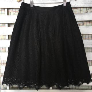 バーバリー(BURBERRY)の【美品】【大きいサイズ】バーバリー 黒レーススカート(ひざ丈スカート)
