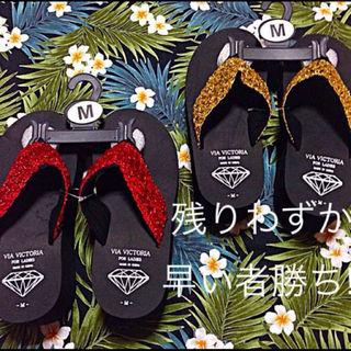 スパンコール厚底ビーチサンダル★【レッド】L(サンダル)