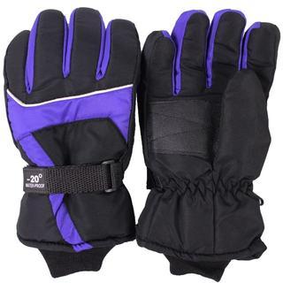 防風 防水グローブ 手袋 防寒 スノーボード スキー パープルブルー(ウエア/装備)