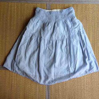 ムジルシリョウヒン(MUJI (無印良品))の無印良品 マタニティスカート 水色ストライプ M-L(マタニティボトムス)