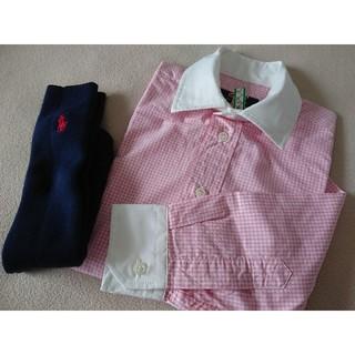 ポロラルフローレン(POLO RALPH LAUREN)のキッズ SHIPS シャツ110 &未使用 RALPH LAUREN ソックス(ドレス/フォーマル)