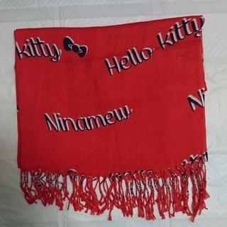 サンリオ(サンリオ)のHello kitty & Nina mewミックス ロゴ ストール(レッド)(マフラー/ショール)