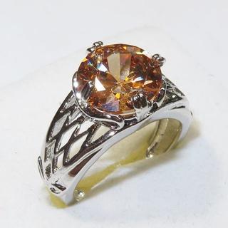 オレンジキュービックジルコニアの指輪13号(リング(指輪))