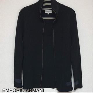 エンポリオアルマーニ(Emporio Armani)の正規品 エンポリオアルマーニ ラナウール ブラックニット ブルゾン(ブルゾン)