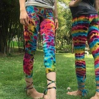 編み上げカラフルレギンス ヨガウエア・トレーニング・エスニックファッション(レギンス/スパッツ)