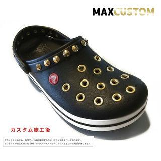 クロックス(crocs)のクロックス パンク カスタム 黒金 クロックバンド crocs サイズ22~28(サンダル)