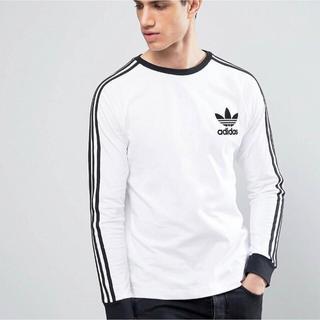 アディダス(adidas)の【 Mサイズ】adidas 新品タグ付  3ストライプ ロングTシャツ 白(Tシャツ/カットソー(七分/長袖))