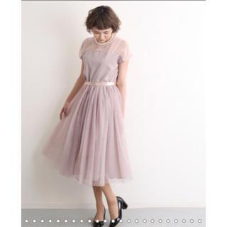 メルロー(merlot)のmerlot plus デコルテシースルーチュールスカート(ミディアムドレス)