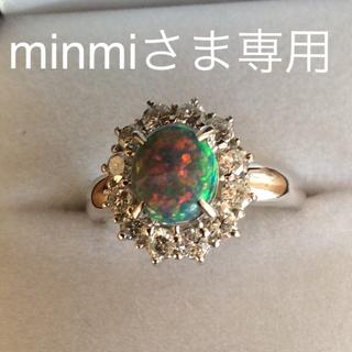 天然ブラックオパール ダイヤ取り巻きリング(リング(指輪))
