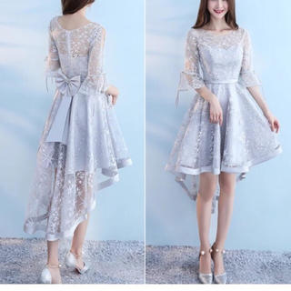 シースルー 結婚式ドレス フィッシュテール うしろリボン フレアスリーブ(その他ドレス)