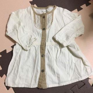 ビケット(Biquette)のシャツワンピ オフホワイト 90cm(ワンピース)