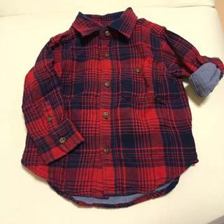 ギャップ(GAP)のBaby gap 長袖シャツ チェック赤 12-18 80センチ (シャツ/カットソー)