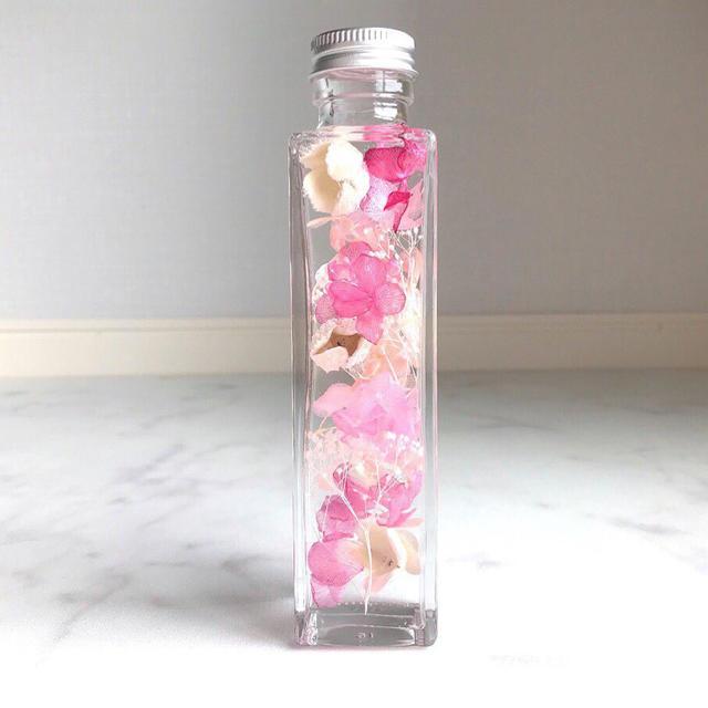 ハーバリウム 桜ピンク ハンドメイドのフラワー/ガーデン(プリザーブドフラワー)の商品写真