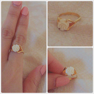 ロキエ(Lochie)のvintage🌹beige rose ring(リング(指輪))