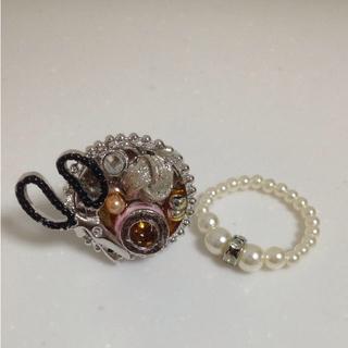 糸巻きリング(ピンク系)とパールビーズリング2点セット(リング(指輪))