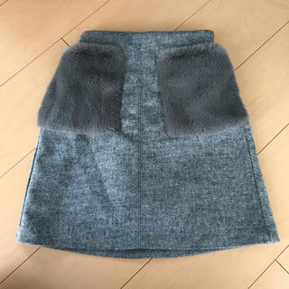 ジーユー(GU)のGU kids ファーポケットスカート 150サイズ(スカート)