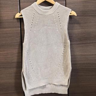 胸ポケット付ベーシックサマーニットベストトップス/レディース N880