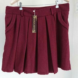 ウール厚手プリーツスカート 4Lタグ付き未使用(ミニスカート)