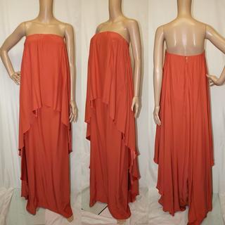ランバン(LANVIN)のLANVIN◇ランバン正規品・ドレス◇ピンク系オレンジ・美品(ロングドレス)