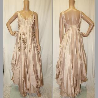 クリスチャンディオール(Christian Dior)のディオール・ロングドレス◇ベージュ系36・美品 スパンコール(ロングドレス)