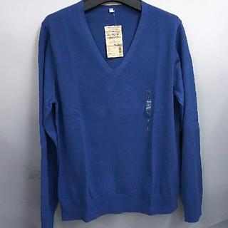 ムジルシリョウヒン(MUJI (無印良品))の新品 無印良品 オーガニックコットンシルクVネックセーター・スモーキーブルー・L(ニット/セーター)