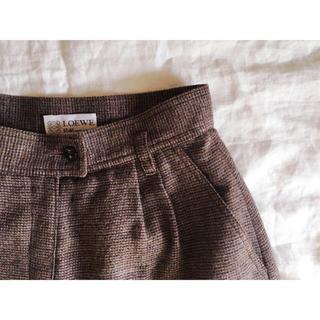 ロエベ(LOEWE)のLOEWE ヴィンテージ チェックウールスカート(ひざ丈スカート)