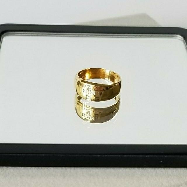 k18 ダイヤモンド  クロス リング 0.04ct #6.5〜7  レディースのアクセサリー(リング(指輪))の商品写真